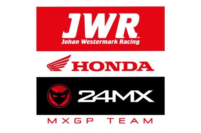 Des Honda sous l'auvent du team JWR 24MX Racing