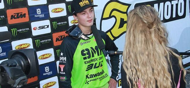 Lucas Coenen sur le podium EMX125 en France